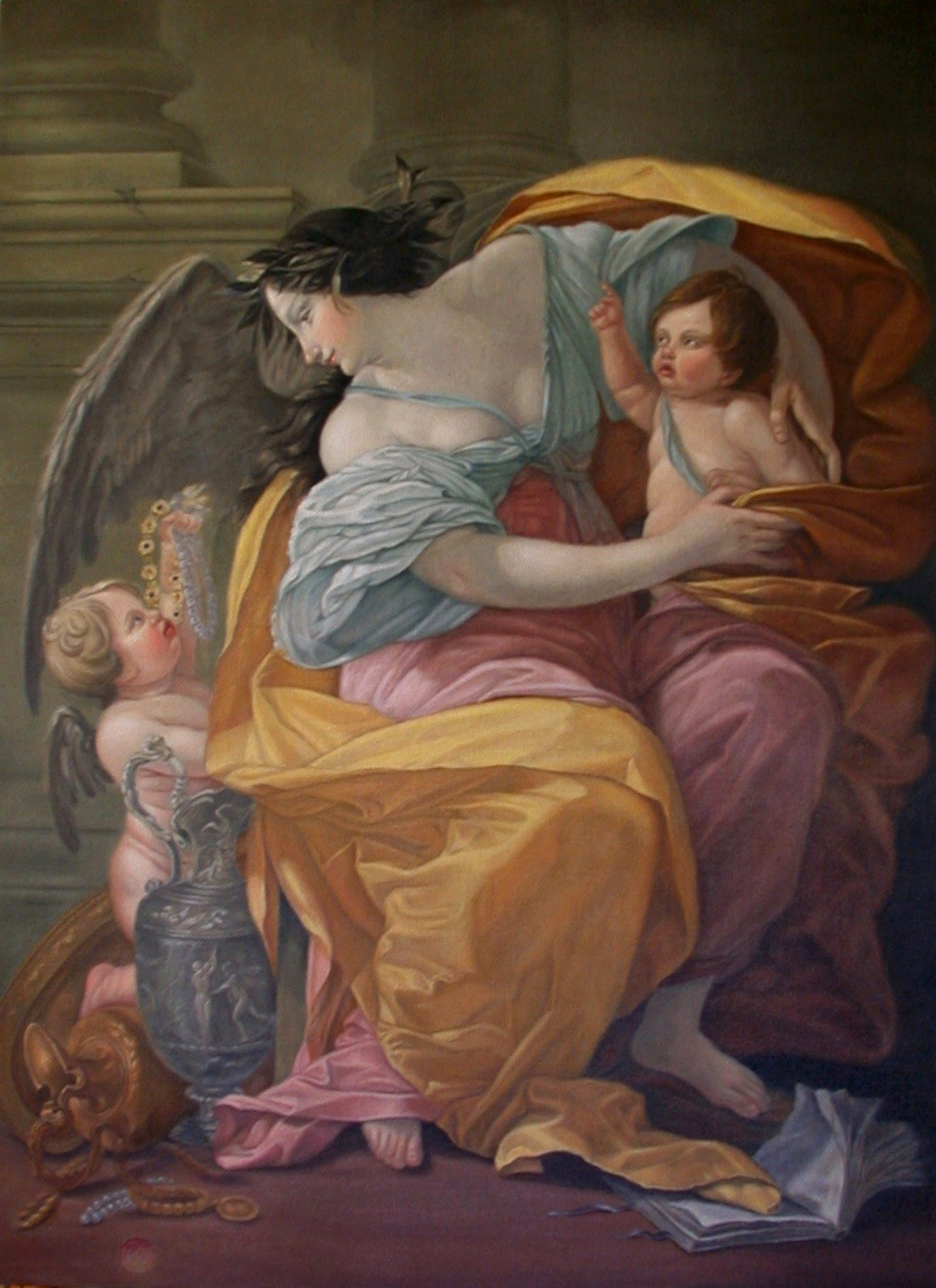 "Allegory of Wealth Arrowood after Simon Vouet 2004 Oil on Canvas 44"" x 32"" Exhibited October 5th-28th, 2005 2nd Salon des Copistes du Louvre La Mairie du 6th, Paris, France"